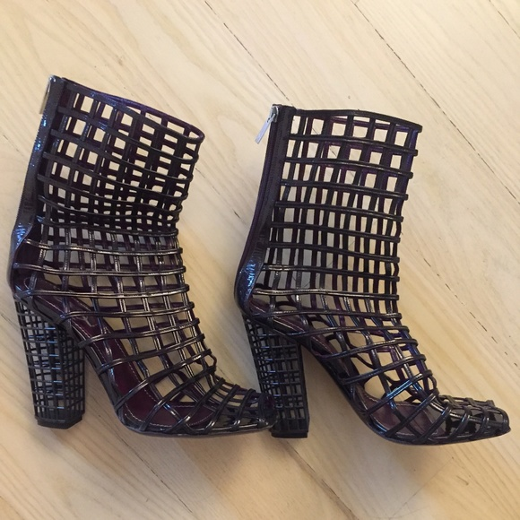 e433ceb07ac Yves Saint Laurent Shoes | Ysl Caged Boots Deep Purple Size 39 ...